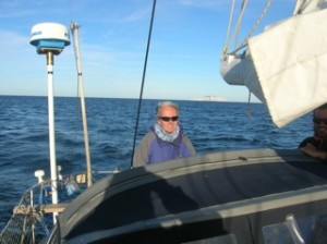 Me at the helm of Baleana in the Sea of Cortez
